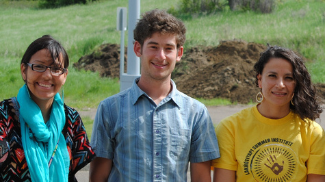 L-R: Thipiziwin Young, Intern Simon Gertler, SRST Education Manager Sunshine Carlow, at 2013 LSI